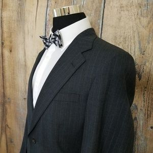 Nordstrom Pinstripe Wool Suit Mens 38 R Dark Gray